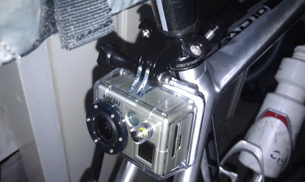 GoPro mounted on the rear using handlebar mounts