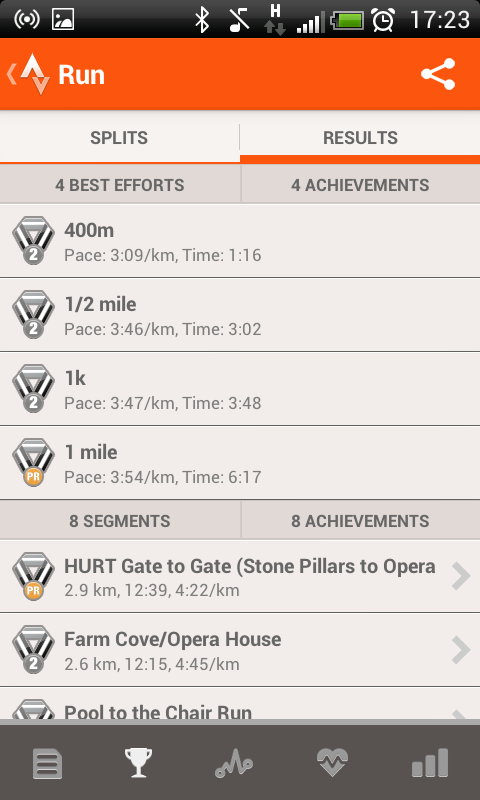 Strava mobile app for running